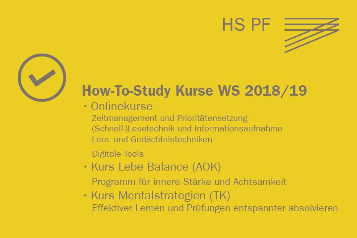 How to study - Kursangebot im Wintersemester 2018/2019