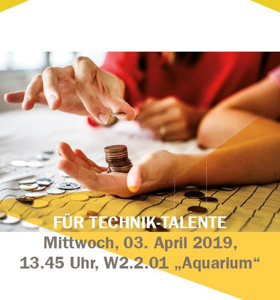 """Stipendien-Infoveranstaltung für Techniker am 03. April 2019 ab 13.45 Uhr im """"Aquarium"""""""